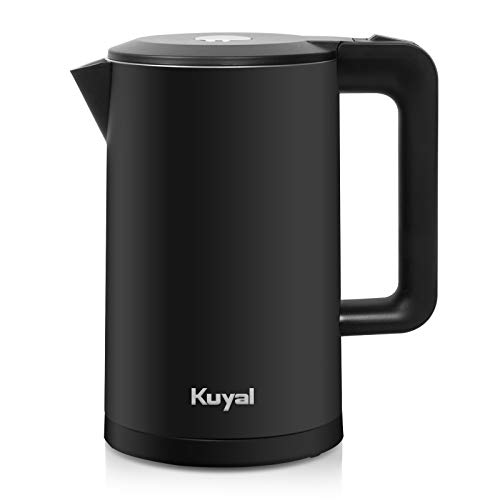 Kuyal Electric Kettle, Double Wall Stainless Steel Cool Touch Tea Kettle with 1800W Fast Boiling Heater, Cordless with Auto Shut-Off & Boil Dry Protection 1.7L