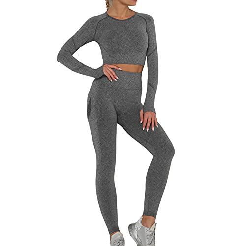 OEAK Damen Sportanzüge Jogginganzug Sport Sets Hosen und Sport Crop Top 2 Stücke Bekleidungssets Yoga Outfit Freizeitanzug Sportswear,Dunkelgrau C,L