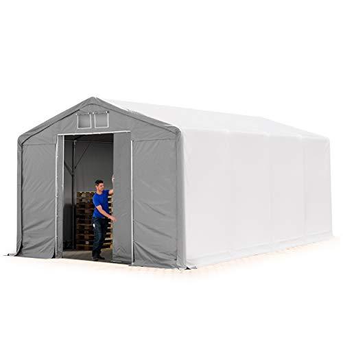TOOLPORT Lagerzelt Zelthalle 5x8m mit Schiebetor - durchgehende ca. 550g/m² PVC Plane - Wasserdicht 3m Seitenhöhe