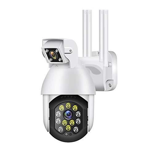 Andifany 1080P de Doble Lente de Seguridad WIFI PTZ CáMara IP CáMara InaláMbrica de Infrarrojos para Exteriores con 16 Luces LED y DeteccióN de Movimiento-Enchufe de la UE
