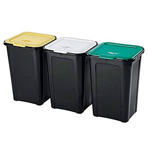 Acan Tontarelli - Pack de 3 Cubos Basura 44 litros con Tapa 55 x 38 x 34 cm. Juego, Set de contenedores de residuos apilables de plástico para Reciclaje