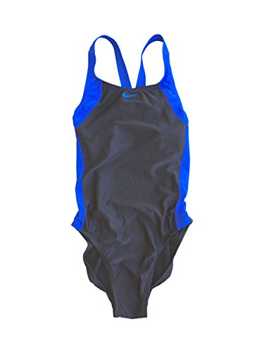 NIKE Women's Powerback Colorblock Swimsuit (32/WMS 6, Black/Dark Blue)