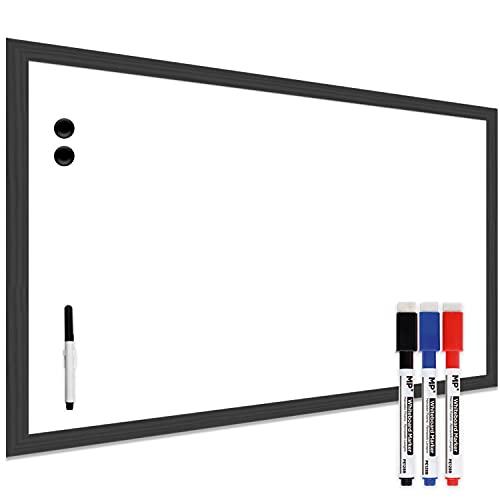 MP - Pizarra Blanca Magnética on Marco de Madera Negra Resistente Fácil de Borrar+Rotulador. Ideal para Colegios, Tiendas, Hogares y Oficinas. Fácil Instalación, Pizarra Blanca Pared 60x40cm