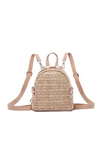 Ulisty Donne Piccolo Zaino di paglia Mini Intrecciata Daypack Borsa da spiaggia estiva Moda Borsa a tracolla Casuale borsetta cachi