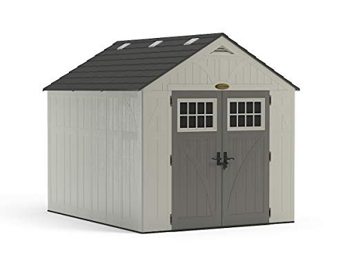 Suncast 8' x 10' Tremont Storage Shed - Outdoor Storage for Backyard Tools and Accessories - All-Weather Resin Material, Transom Windows and Shingle Style Roof