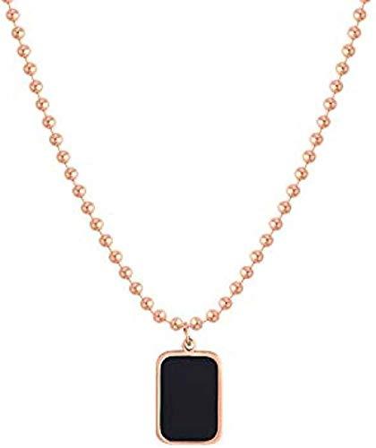 JSYHXYK Collar Collar Collar con Colgante De Marca Cuadrado Negro Collar De Clavícula Femenina