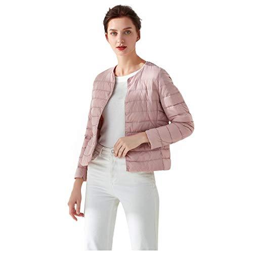 BRISEZZ Vrouwen Casual O-Neck Light Coat normale lak korte knoop zak donsjack donsjack gewatteerde jas middeldikke (zwart, blauw, grijs, kaki, navy, rood, roze, wijn, M-L4)