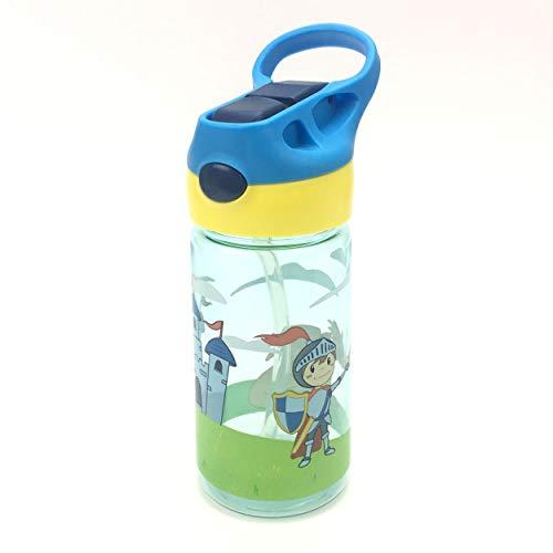 ZT Botella de Agua para Niño decoradas, 450ml, Botella a prueba de Fugas, Botella Agua con Pajitas, sin BPA. (PRINCIPE)