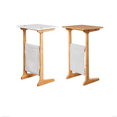 QIAOLI Moderno minimalismo pequeño té varias funciones de bambú sólido sofá de madera en forma de C mesa de noche (color: liso)