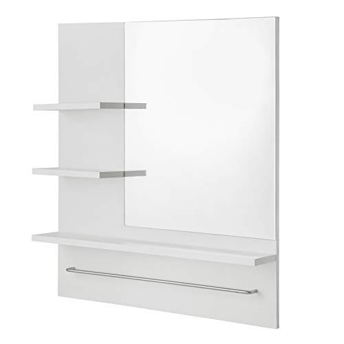EUGAD Armarios con Espejo para Baño Cocina Mueble Espejo para Baño Mueble de Pared de baño Espejo con Estante Mueble Joyero de Madera con 3 Estantes Blanco 60x13x70cm 0133WY
