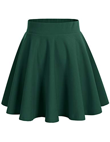 bridesmay Damenrock Basic Solid Vielseitige Dehnbaren Informell Minikleid Retro Mini Rock Faltenrock Dark Green XL