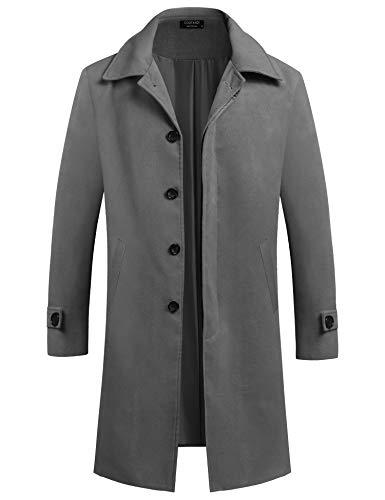 COOFANDY Men's Wool Coat Vintage Business Button Overcoat Jacket Autumn Winter Grey