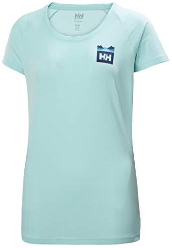 Helly Hansen Nord Graphic Drop T-Shirt Camiseta, Mujer, Azul Glaciar, XL