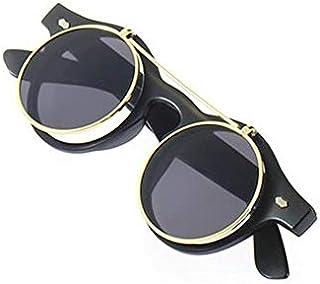 Courage Ouyang Lunettes de soleil rondes style steampunk gothique rétro vintage Accessoires de mode