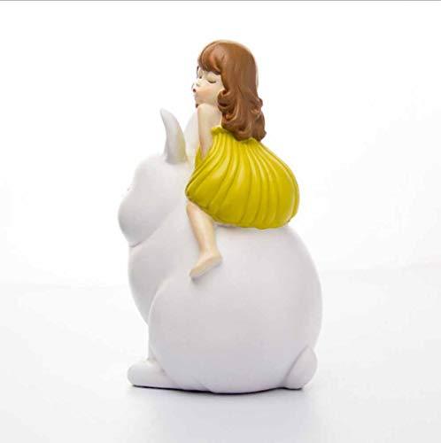 SDBRKYH Estatuas de decoración del hogar, Escultura de niña de Conejo, Modelo de Cuento de Hadas de fantasía, exhibición de artesanías pintadas de Resina, Regalos de colección Familiar