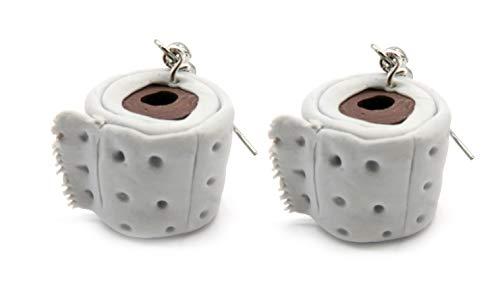 Ohrringe graues Toilettenpapier Ohrhänger Klopapier handmade
