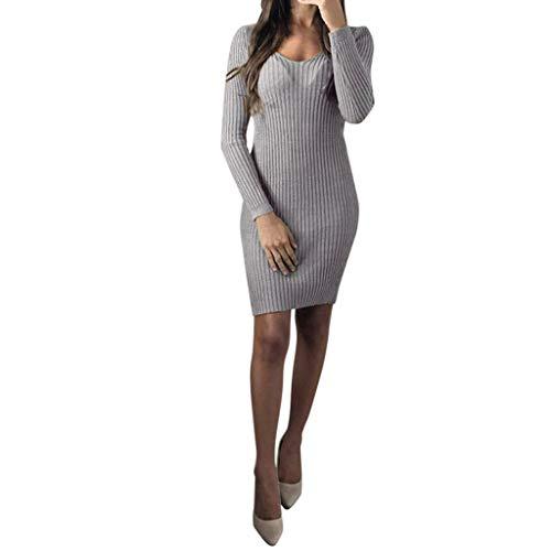 Vestiti in Maglia Donna Eleganti Vintage,Bluse da Donna,YanHoo Abito da Donna Felpa da Donna con Scollo Tondo Caldo Manica Lunga Nero Grigio Rosso Verde S/M/L/XL (Grigio1, M)
