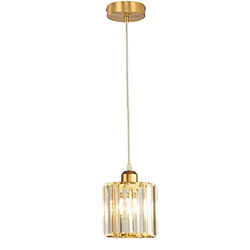 lampadario soggiorno dorato HJXDtech Lampada a sospensione moderna con paralume rotondo in cristallo