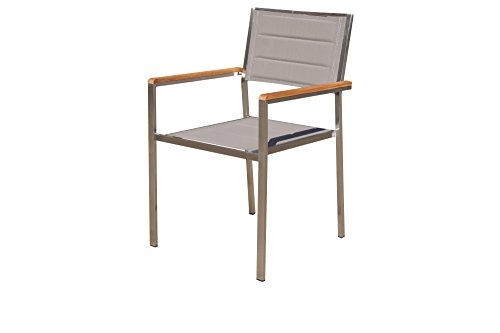 OUTFLEXX moderner Stapelstuhl in Taupe, aus rostfreiem Edelstahl, Sitzfläche aus Textilene und Armlehnen aus hochwertigem Teakholz, ca. 62 x 56,5 x 86 cm, Holzstuhl, Sessel, wetterfest