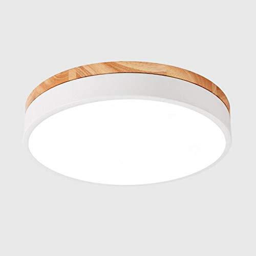 Modern LED Rund Deckenleuchte 18W Dimmbar mit Fernbedienung Deckenlampe Weiss Metall Holz-Lampe Badlampe Macaron Stil Schlafzimmerlampe Decken-Beleuchtung Galerie Toilette Flur Balkon,φ30CM