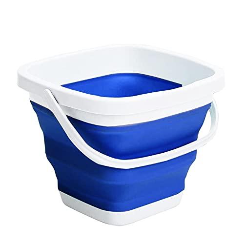TGUS Cubo plegable, cubo plegable con asa, contenedor de agua portátil, ahorro de espacio, cubo plegable, para jardinería, camping, pesca, supervivencia al aire libre, cuadrado (azul, tamaño: 10L)