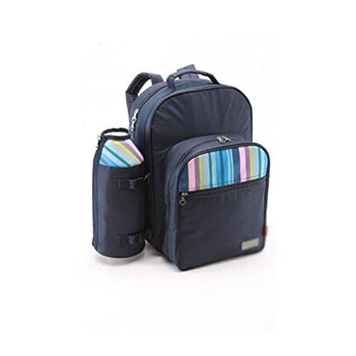 XYX Refrigerador de Mochila de Picnic portátil para 2 Personas, Botella Desmontable/con Soporte de Vino, servilletas de algodón, Placas y Cubiertos (Color : Blue, tamaño : 28 * 20 * 40cm)