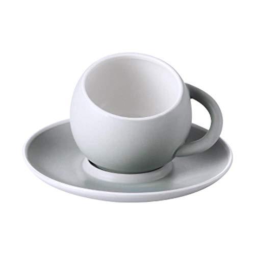 Kaffeetassen Keramiktasse Tasse Kreative Matt Kugelkugel Latte Kaffeetasse Set Mit Tablett Untertasse Nachmittagstee Becher Cappuccino Espressotasse 230Ml, Grau, 230Ml