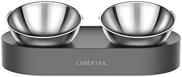PETKIT CYBERTAIL Elevated Cat Bowls with 2 Stainless Steel Bowls 15 Tilted Raised Cat Food and product image