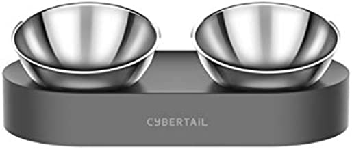 PETKIT CYBERTAIL Elevated Dog Cat Bowls with 2 Stainless Steel Bowls, 15° Tilted Raised Cat Food and Water Bowls, Stress Free Food Grade Material, Nonslip No Spill Pet Feeding Bowls
