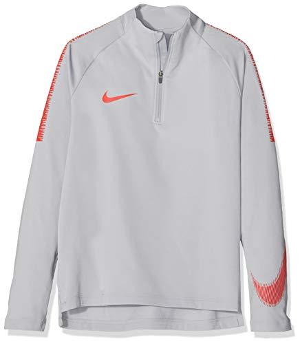 Nike Jungen Breathe Squad Drill Langarmshirt, Wolf Grey/Light Crimson, L