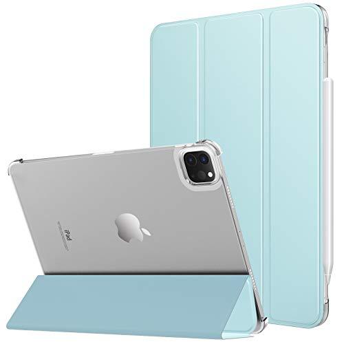 MoKo Hülle Kompatibel mit iPad Pro 12.9 2021 Tablet, PU Leder Tasche Transluzent Rücken Deckel Schutzhülle mit Auto Schlaf/Wach Funktion, Himmelblau