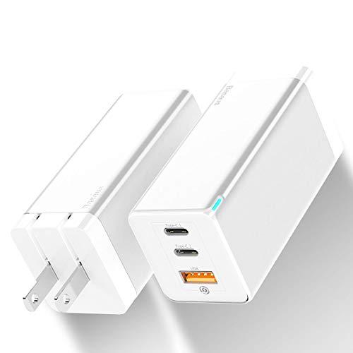 Baseus USB-C 急速充電器 pd 充電器 65W 急速充電器 GaN 窒化ガリウム USB充電器 ACアダプタ PD 急速充電 2C+A 3ポート 同時に充電 折り畳み式 持ち運びに便利 海外対応 小型 PSE認証済 iPhone/Android/MacBook/Huawei Matebook/ノートパソコン/Switchその他USB-C機器対応 ホワイト【国内正規品/18ヶ月保証】 (White) (White)