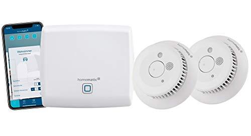 Homematic IP Access Point - Smart Home Gateway mit kostenloser App und Sprachsteuerung über Amazon Alexa + 2x Rauchwarnmelder mit Q-Label, intelligenter Alarm lokal und per App aufs Smartphone