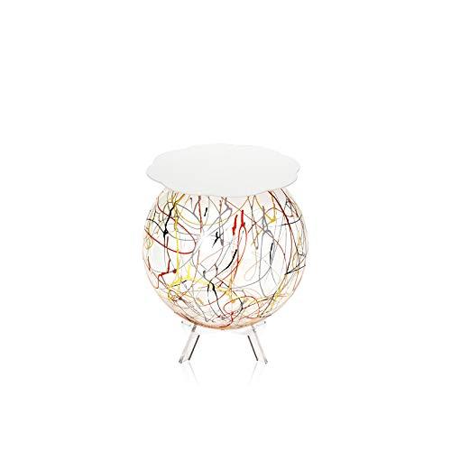 iPLEX - Boollino - Mesa auxiliar de plexiglás con estructura esférica de 46 x 40 x 40 cm con estante blanco, dibujo artístico colorido - Jarrón para