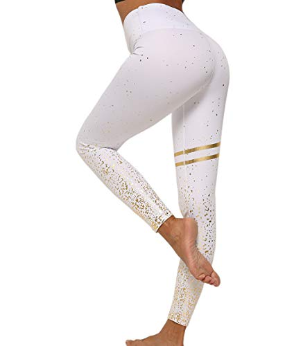 Pau1Hami1ton Leggins Pavón Mujer, Mallas Fitness Push Up Pantalones Deporte Running Yoga GP-20(White,L)