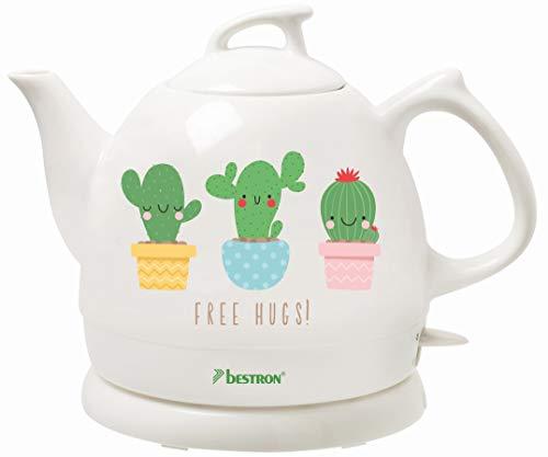 Bestron Wasserkocher im Retro Design, 0,8 Liter, Ca. 1800 Watt, Keramik, Aufdruck: Kaktus