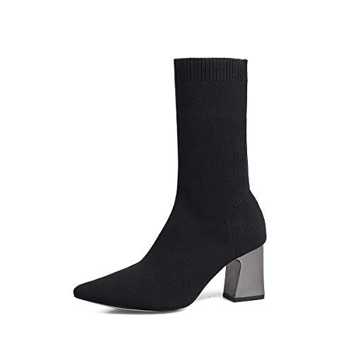 Shukun enkellaarzen puntige dikke hak laarzen herfst en winter hoge hak elastische sokken laarzen breien puntige dikke met korte laarzen in de buis