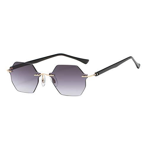 Hellery Gafas de Sol Modernas para Mujer sin Montura Gafas de Sol Antideslizantes para Hombre Gafas de Sol para Deportes al Aire Libre con gradiente UV400 - Gris Degradado