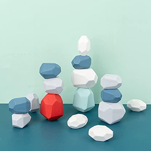 shandianniao Bloques de construcción Madera Equilibrio Piedras apilamiento Colores Roca Juguetes educativos para niños pequeños niñas (Color : 16 pcs)