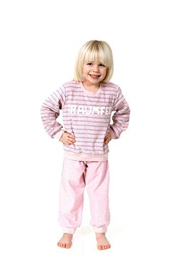 Süsser Mädchen Frottee Schlafanzug Pyjama lang mit Bündchen und coolen Spruch - 53336, Farbe:rosa;Größe:116