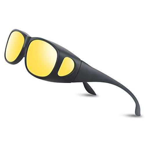 Occffy Herren und Damen Nachtsichtbrille zum Autofahren, Anti Glanz Polarisiert Gewidmet Nachtbrille Für Brillenträger geeignet Oc3308 (Schwarzer Mattrahmen mit gelber Linse)