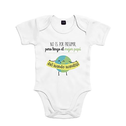 SUPERMOLON Body bebé algodón No es por presumir pero tengo el mejor papá del mundo mundial 3 meses Blanco Manga corta