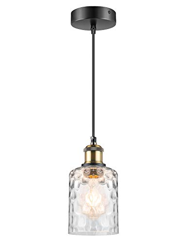 WENFENG Industrial Mini Pendant Light Fixtures, Adjustable Height Flush Mount Hanging Ceiling Lamp, Clear Globe Water Ripple Shade E26 Base for Kitchen Island Dining Room Living Room Hallway Entryway