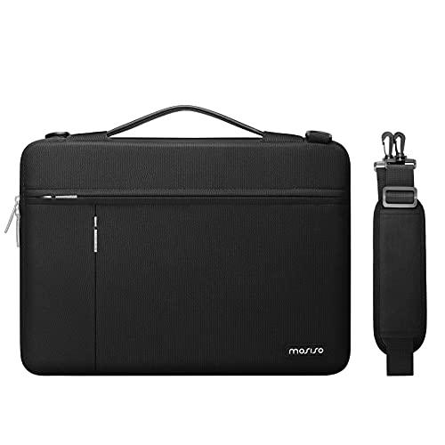 MOSISO Funda Protectora Compatible con MacBook Pro 16 A2141, 15-15,6 Pulgadas Portátil,Maletín Poliéster con Apertura Lateral,Bolsillos Frontales Horizontales &Verticales & Cinturón de Carro, Negro