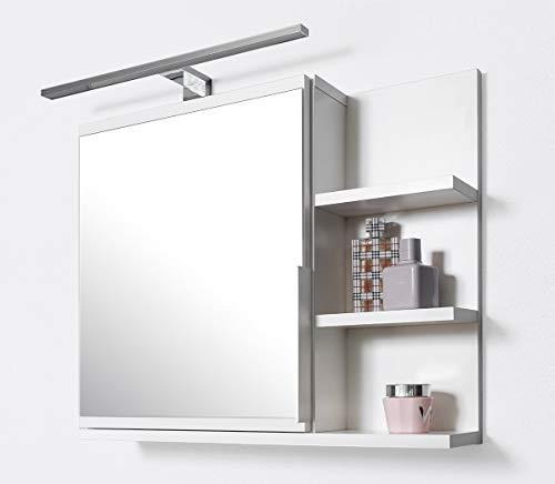 DOMTECH Badezimmer Spiegelschrank mit Ablagen und LED Beleuchtung, Badezimmerspiegel, Weiß Spiegelschrank, R