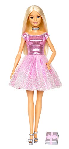 Barbie Happy Birthday Doll, Blonde, Wearing Sparkling Pink Party Dress with Present, Gift for 3 to 7 Year Olds