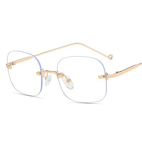 Gafas de Lectura, Glasses Transparentes Cuadrados del Mismo párrafo Enamorados sin Marco Hombres Marcos ópticos Gafas Unisex Gafas Retro Gafas de Metal (Color : Milky White, Size : +300)
