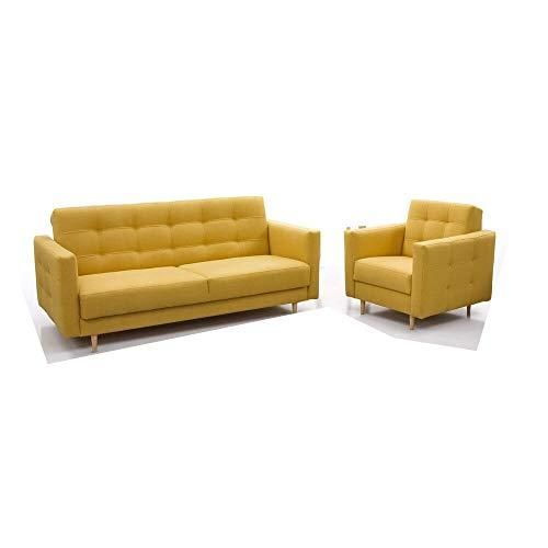 Polstergarnituren Sofa mit Sessel Schlafsofa Kippsofa Sofa mit Schlaffunktion Klappsofa Bettfunktion Couch - Scarlett (Gelb)