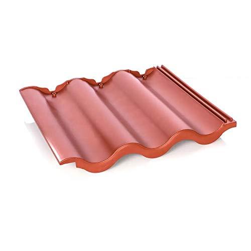 Dachpfanne Dachziegel aus Kunststoff (rotbraun) 12 Stück ca. 2 qm