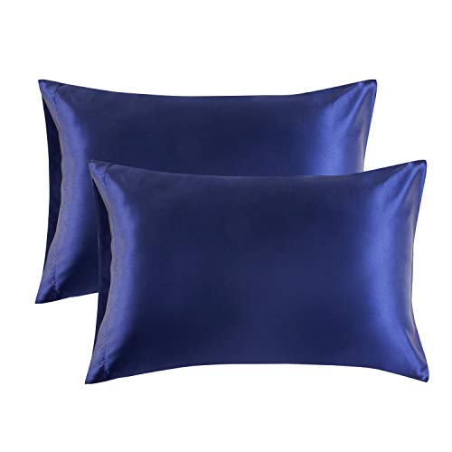 Bedsure Satin Pillowcase for Hair and Skin Queen - Navy Silk Pillowcase 2 Pack 20x30 inches - Satin Pillow Cases Set of 2 with Envelope Closure